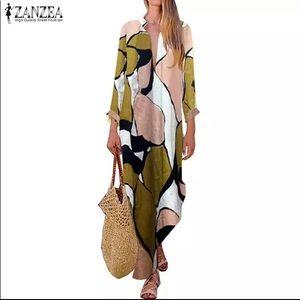 Summer Maxi Dress V Neck Long Sleeve Floral Print